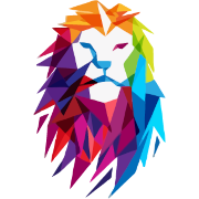 Logo von marketing consulting bunter Löwenkopf in Regenbogenfarben